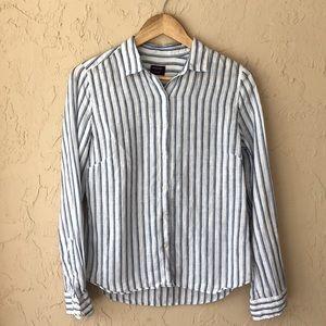 Untuckit linen top long sleeve striped 4 white blu